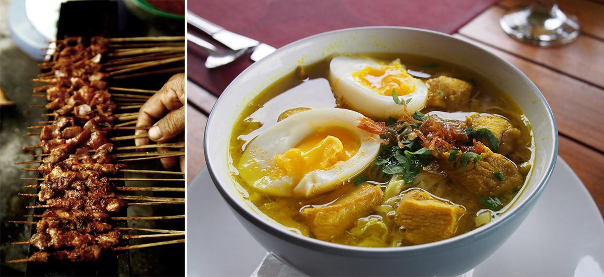 Il satè Bulayak e il curry di pollo (foto © Anton Muhajir e Franklin Heijnen)