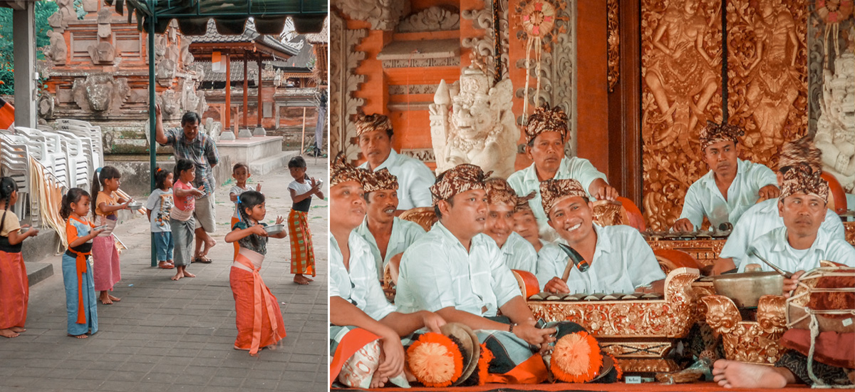 Bambine che provano passi di danza e l'orchestra di Ubud