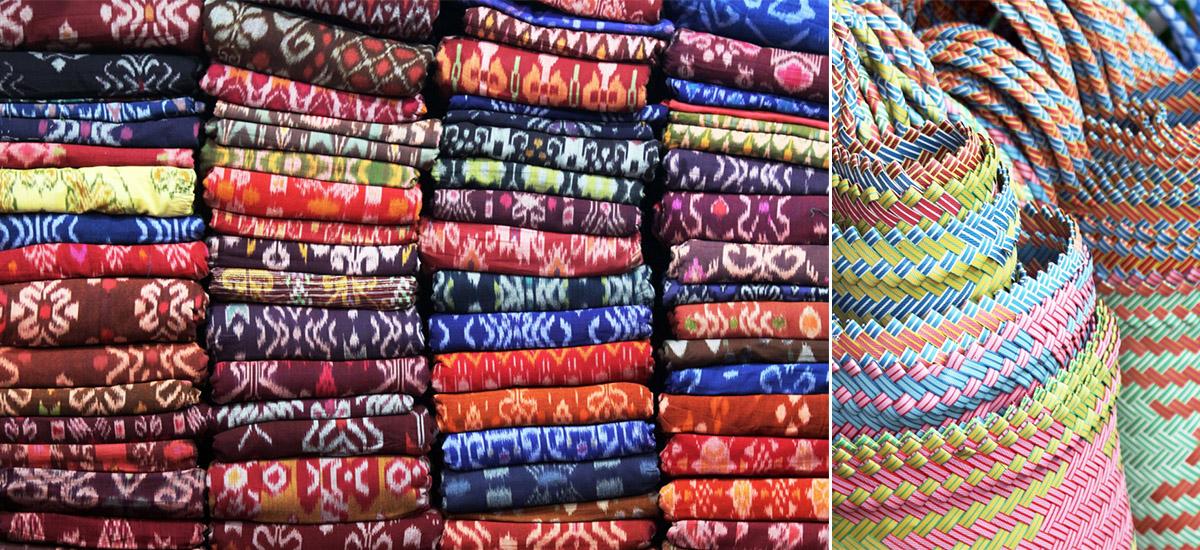 Tessuti ikat e borse intrecciate fra gli oggetti da acquistare al Sukawati (foto © Bruno Kvot)