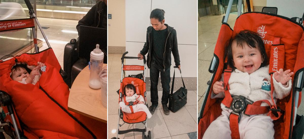 Il passeggino di cortesia della Emirates all'aeroporto di Dubai