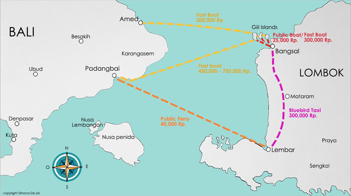 Isole Gili la guida pratica, mappa delle isole