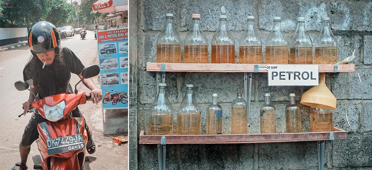 Una bancarella di benzina in bottiglia e il noleggio scooter