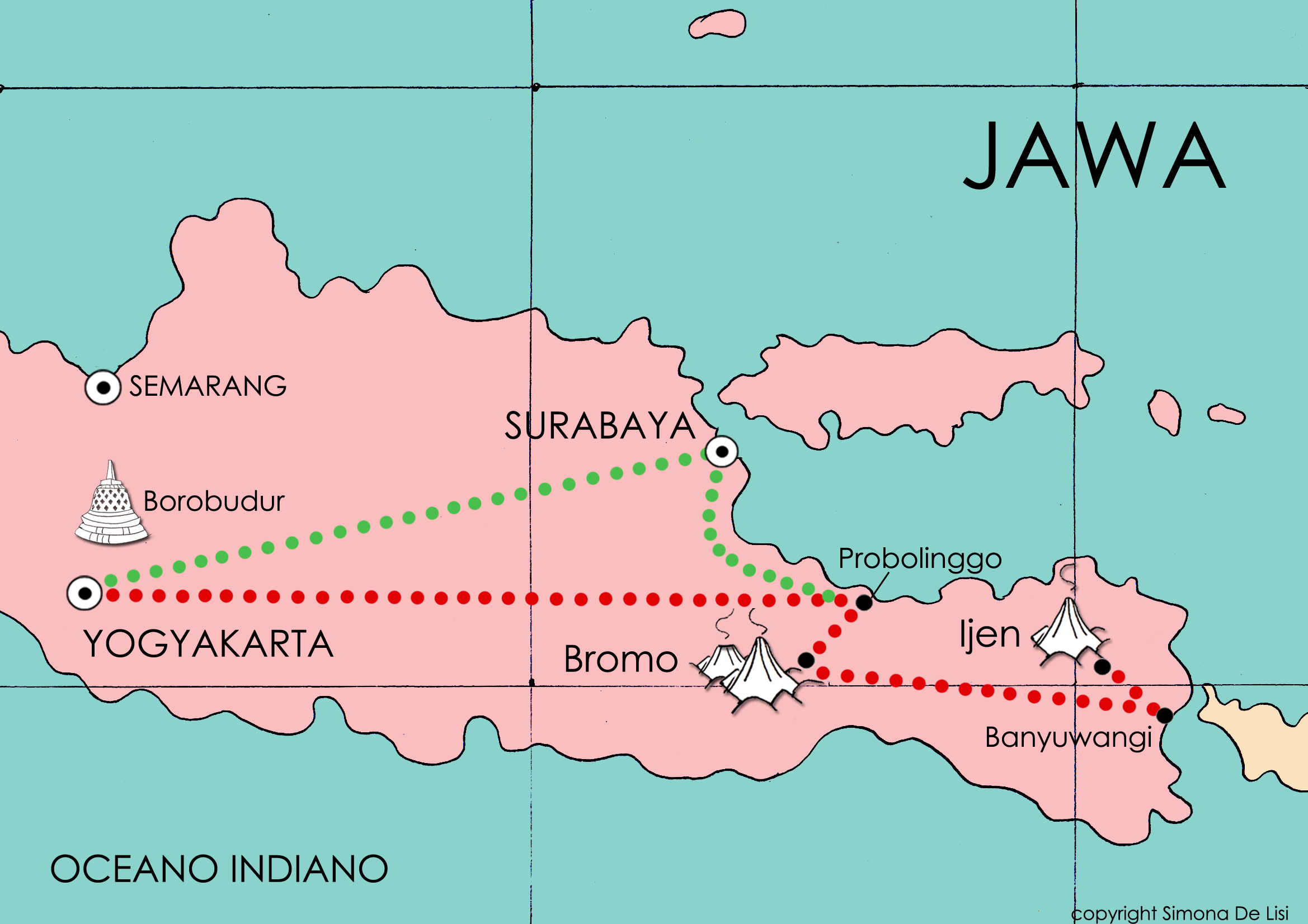 Il percorso da seguire per raggiungere i due vulcani Bromo e Ijen.