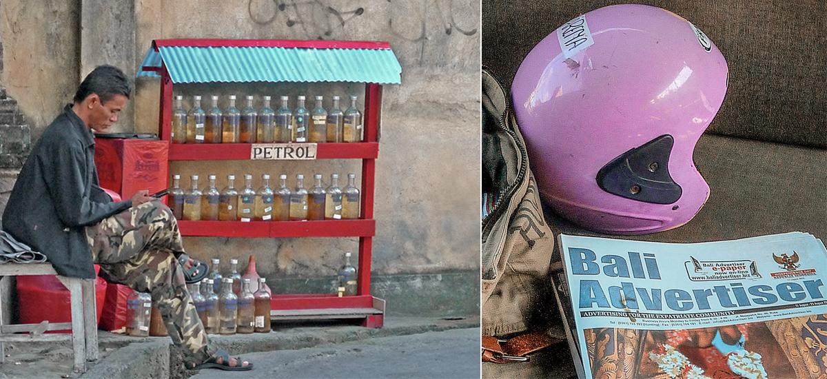 Un benzinaio artigianale e il mio casco in affitto