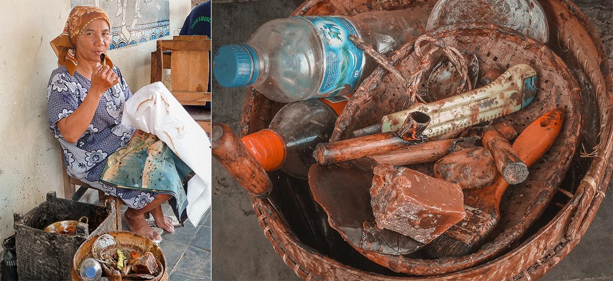 La creazione di un tessuto batik e gli strumenti necessari: cera e pipetta