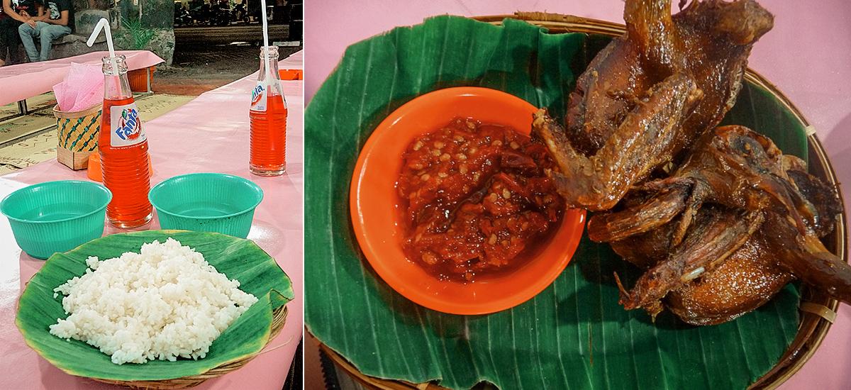 La Fanta rosa e un pasto tipico dei warung-tenda