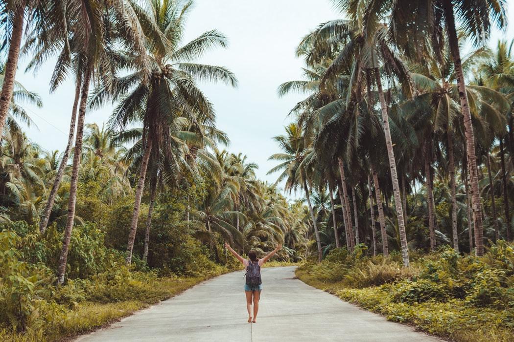 Scegliere la migliore assicurazione di viaggio. Ragazza fra le palme.